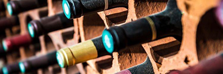 bottle tops in a wine cellar