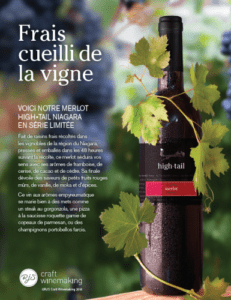 Frais cueilli de la vigne – Hightail Merlot du Niagara